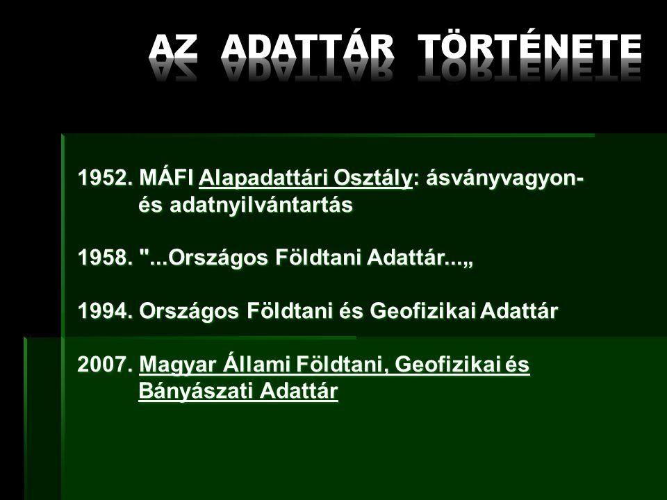 1952. MÁFI Alapadattári Osztály: ásványvagyon- és adatnyilvántartás és adatnyilvántartás 1958.