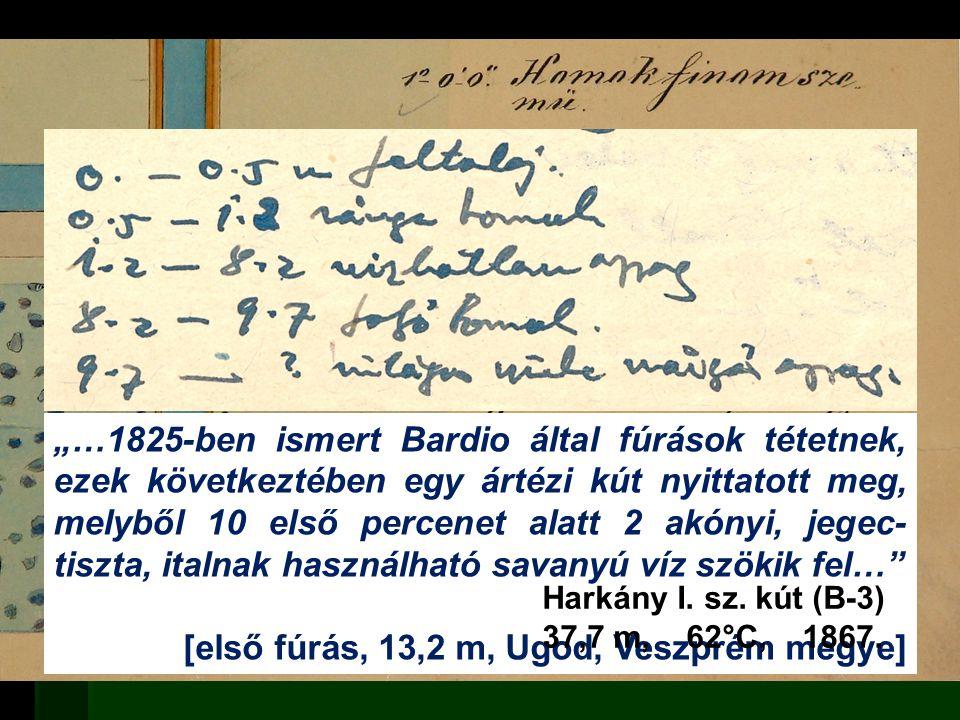 """ Adathordozó / tartalom  Papír (+mikrofilm)  Fúrásdokumentáció  Jelentés  Elektronikus  Geofizikai mérési adat  Kőzet  Magminta  Dokumentációs minta """"…1825-ben ismert Bardio által fúrások tétetnek, ezek következtében egy ártézi kút nyittatott meg, melyből 10 első percenet alatt 2 akónyi, jegec- tiszta, italnak használható savanyú víz szökik fel… [első fúrás, 13,2 m, Ugod, Veszprém megye] Harkány I."""