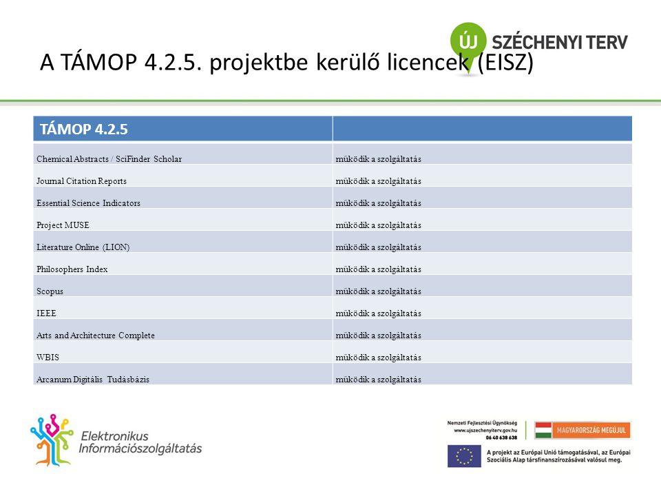 TÁMOP 4.2.5 Elektronikus tartalomfejlesztés és szolgáltatás a kutatásban és a felsőoktatásban • Fő céljai: az EISZ Nemzeti Program fejlesztése (adatbázis portfolió bővítés, informatikai háttér-infrastruktúra bővítése), KFDT felsőoktatási digitális tananyag- állomány bővítése a TÁMOP 4.1.2/A pályázatból (1200 cím) • Informatikai fejlesztések: – új hardver (migráció) – új szoftver (honlap és futtatókörnyezet) – autentikációs törekvések (NIIF, FIR), egyedi felhasználó (otthoni és távoli használat)