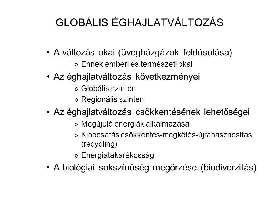 GLOBÁLIS ÉGHAJLATVÁLTOZÁS •A változás okai (üvegházgázok feldúsulása) »Ennek emberi és természeti okai •Az éghajlatváltozás következményei »Globális szinten »Regionális szinten •Az éghajlatváltozás csökkentésének lehetőségei »Megújuló energiák alkalmazása »Kibocsátás csökkentés-megkötés-újrahasznosítás (recycling) »Energiatakarékosság •A biológiai sokszínűség megőrzése (biodiverzitás)