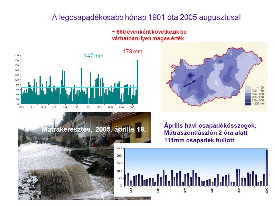 178 mm 147 mm ~ 660 évenként következik be várhatóan ilyen magas érték A legcsapadékosabb hónap 1901 óta 2005 augusztusa.