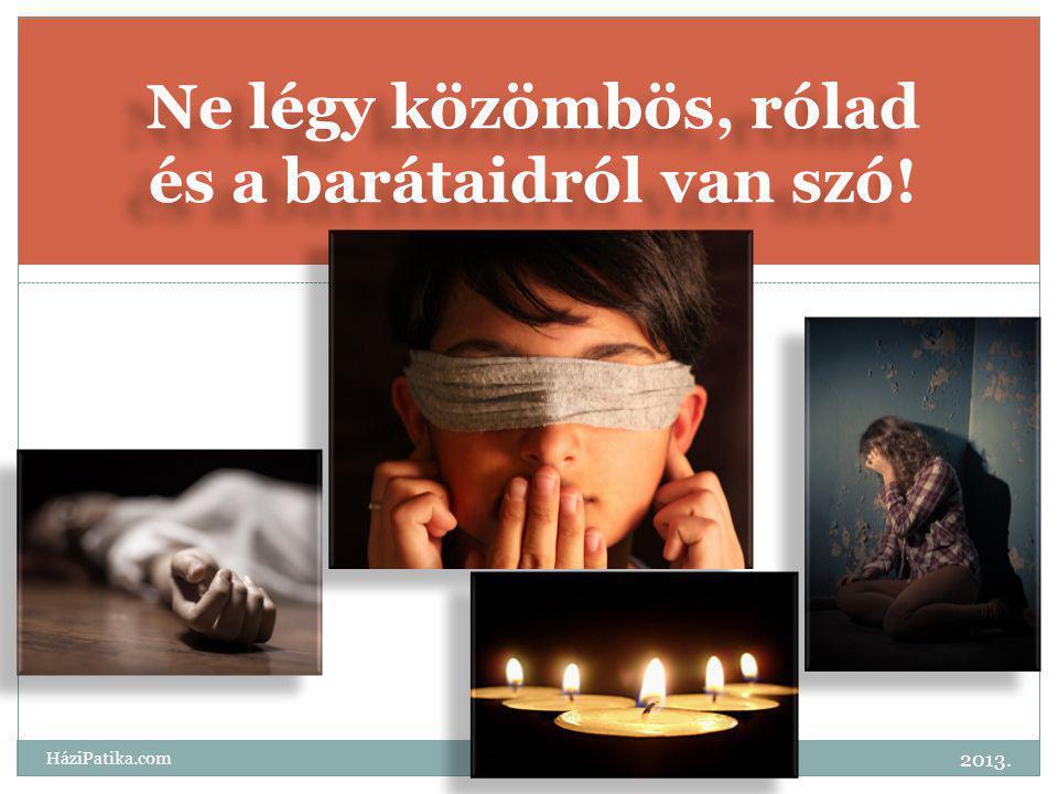 Ne légy közömbös, rólad és a barátaidról van szó! 2013. HáziPatika.com