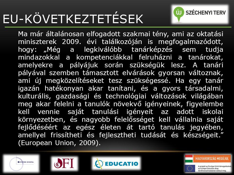 """EU-KÖVETKEZTETÉSEK Ma már általánosan elfogadott szakmai tény, ami az oktatási miniszterek 2009. évi találkozóján is megfogalmazódott, hogy: """"Még a le"""