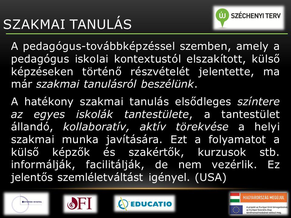 SZAKMAI TANULÁS A pedagógus-továbbképzéssel szemben, amely a pedagógus iskolai kontextustól elszakított, külső képzéseken történő részvételét jelentet
