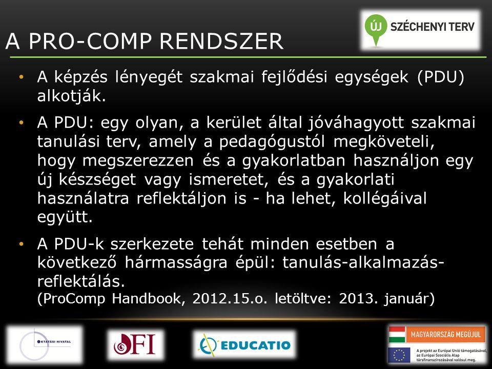 A PRO-COMP RENDSZER • A képzés lényegét szakmai fejlődési egységek (PDU) alkotják. • A PDU: egy olyan, a kerület által jóváhagyott szakmai tanulási te