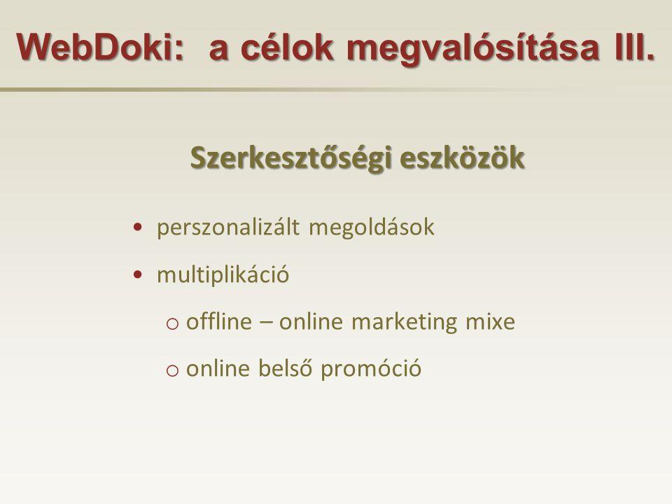 WebDoki: a célok megvalósítása III.