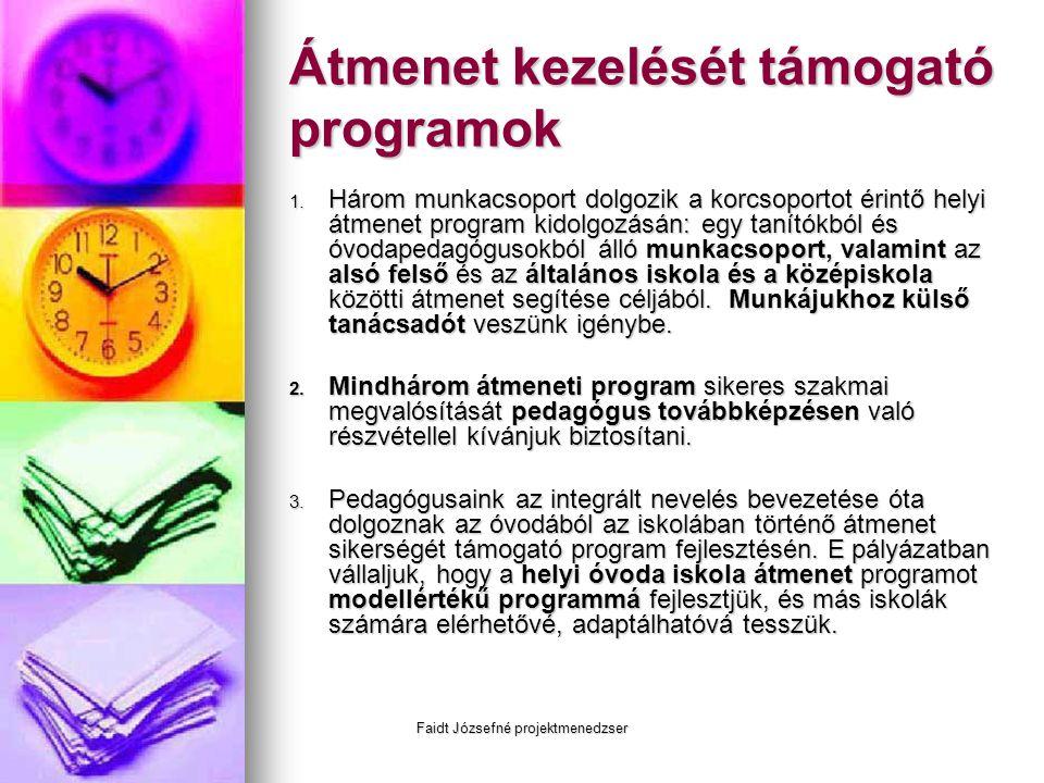 Faidt Józsefné projektmenedzser Átmenet kezelését támogató programok 1. Három munkacsoport dolgozik a korcsoportot érintő helyi átmenet program kidolg