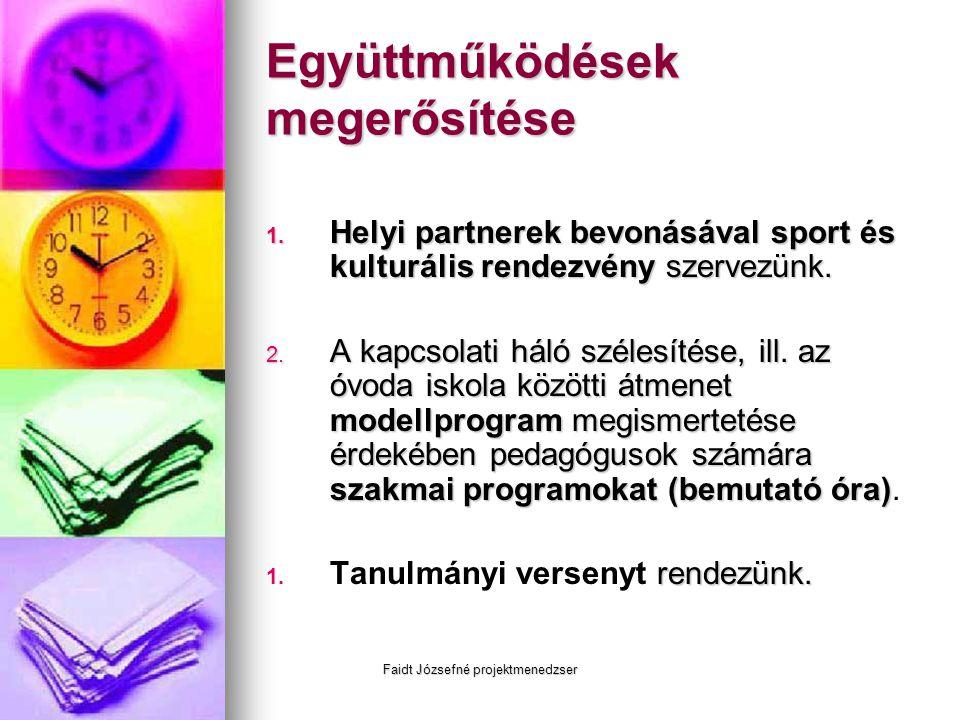 Faidt Józsefné projektmenedzser Együttműködések megerősítése 1. Helyi partnerek bevonásával sport és kulturális rendezvény szervezünk. 2. A kapcsolati