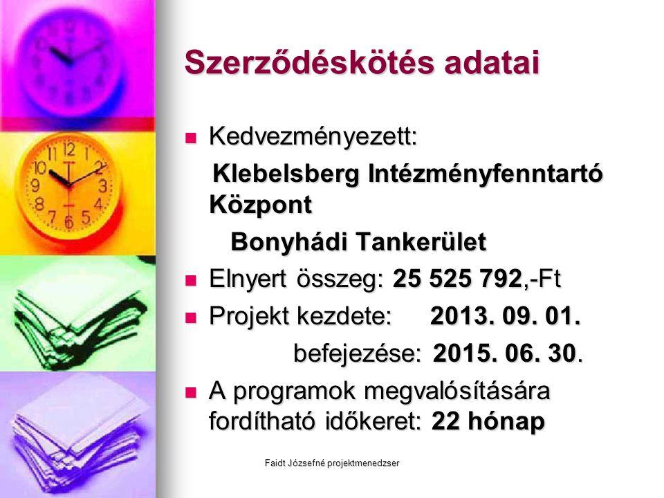 Faidt Józsefné projektmenedzser Szerződéskötés adatai  Kedvezményezett: Klebelsberg Intézményfenntartó Központ Klebelsberg Intézményfenntartó Központ