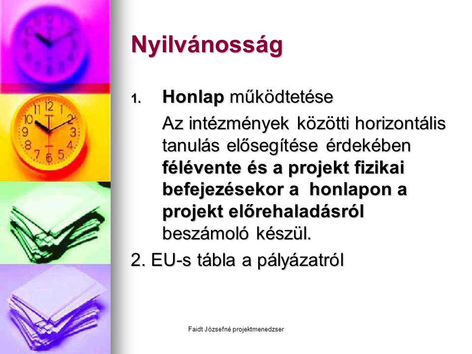 Faidt Józsefné projektmenedzser Nyilvánosság 1. Honlap működtetése Az intézmények közötti horizontális tanulás elősegítése érdekében félévente és a pr