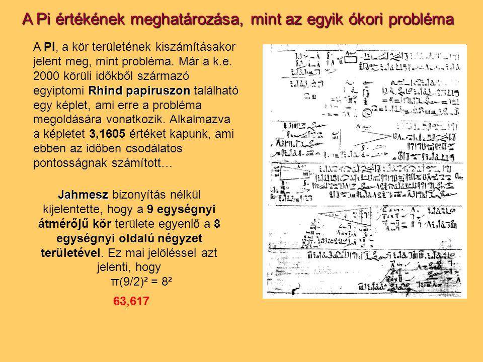A Pi értékének meghatározása, mint az egyik ókori probléma Rhind papiruszon A Pi, a kör területének kiszámításakor jelent meg, mint probléma. Már a k.