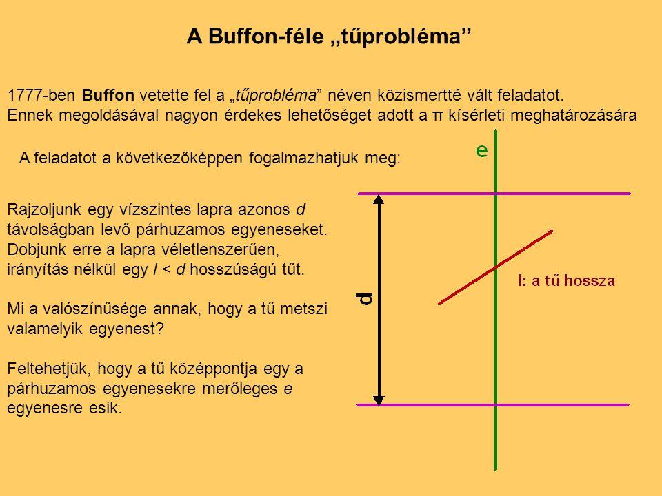 """A Buffon-féle """"tűprobléma"""" 1777-ben Buffon vetette fel a """"tűprobléma"""" néven közismertté vált feladatot. Ennek megoldásával nagyon érdekes lehetőséget"""
