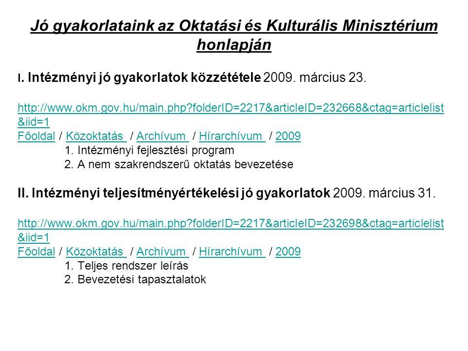 I. Intézményi jó gyakorlatok közzététele 2009. március 23. http://www.okm.gov.hu/main.php?folderID=2217&articleID=232668&ctag=articlelist &iid=1 Főold