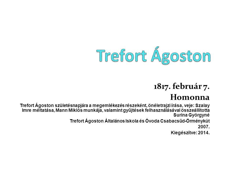 1817. február 7. Homonna Trefort Ágoston születésnapjára a megemlékezés részeként, önéletrajzi írása, veje: Szalay Imre méltatása, Mann Miklós munkája