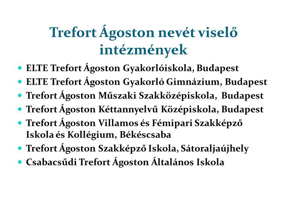 Trefort Ágoston nevét viselő intézmények  ELTE Trefort Ágoston Gyakorlóiskola, Budapest  ELTE Trefort Ágoston Gyakorló Gimnázium, Budapest  Trefort