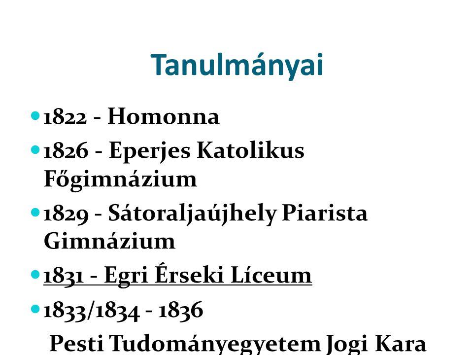 Tanulmányai  1822 - Homonna  1826 - Eperjes Katolikus Főgimnázium  1829 - Sátoraljaújhely Piarista Gimnázium  1831 - Egri Érseki Líceum  1833/183