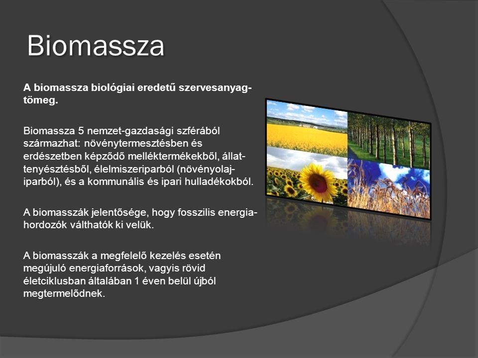 Biomassza A biomassza biológiai eredetű szervesanyag- tömeg. Biomassza 5 nemzet-gazdasági szférából származhat: növénytermesztésben és erdészetben kép
