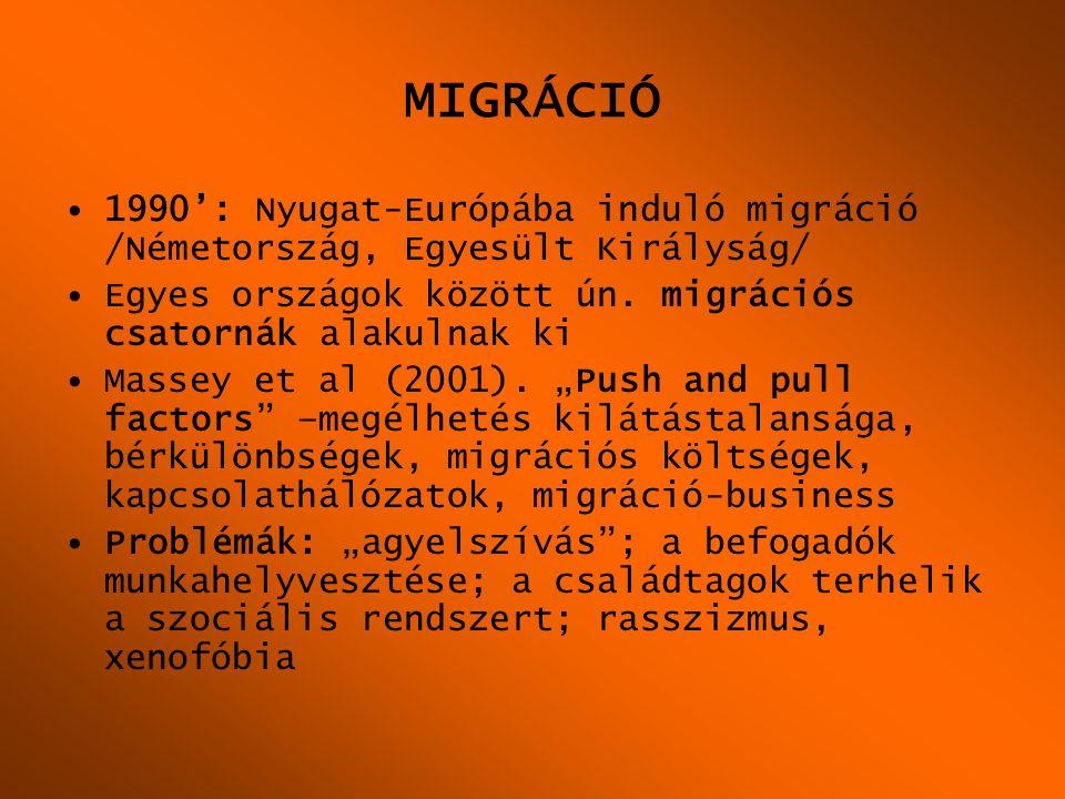 MIGRÁCIÓ •1990': Nyugat-Európába induló migráció /Németország, Egyesült Királyság/ •Egyes országok között ún. migrációs csatornák alakulnak ki •Massey