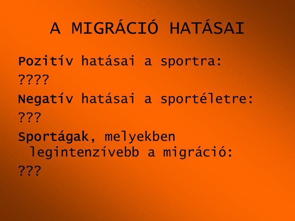 A MIGRÁCIÓ HATÁSAI Pozitív hatásai a sportra: ???? Negatív hatásai a sportéletre: ??? Sportágak, melyekben legintenzívebb a migráció: ???