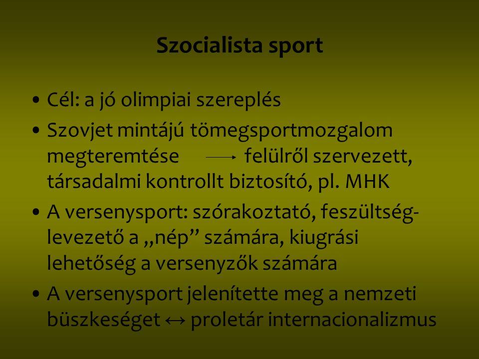 Szocialista sport •Cél: a jó olimpiai szereplés •Szovjet mintájú tömegsportmozgalom megteremtése felülről szervezett, társadalmi kontrollt biztosító,