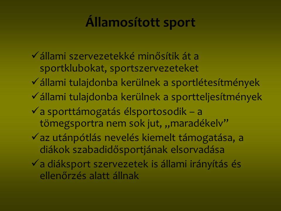 Államosított sport  állami szervezetekké minősítik át a sportklubokat, sportszervezeteket  állami tulajdonba kerülnek a sportlétesítmények  állami