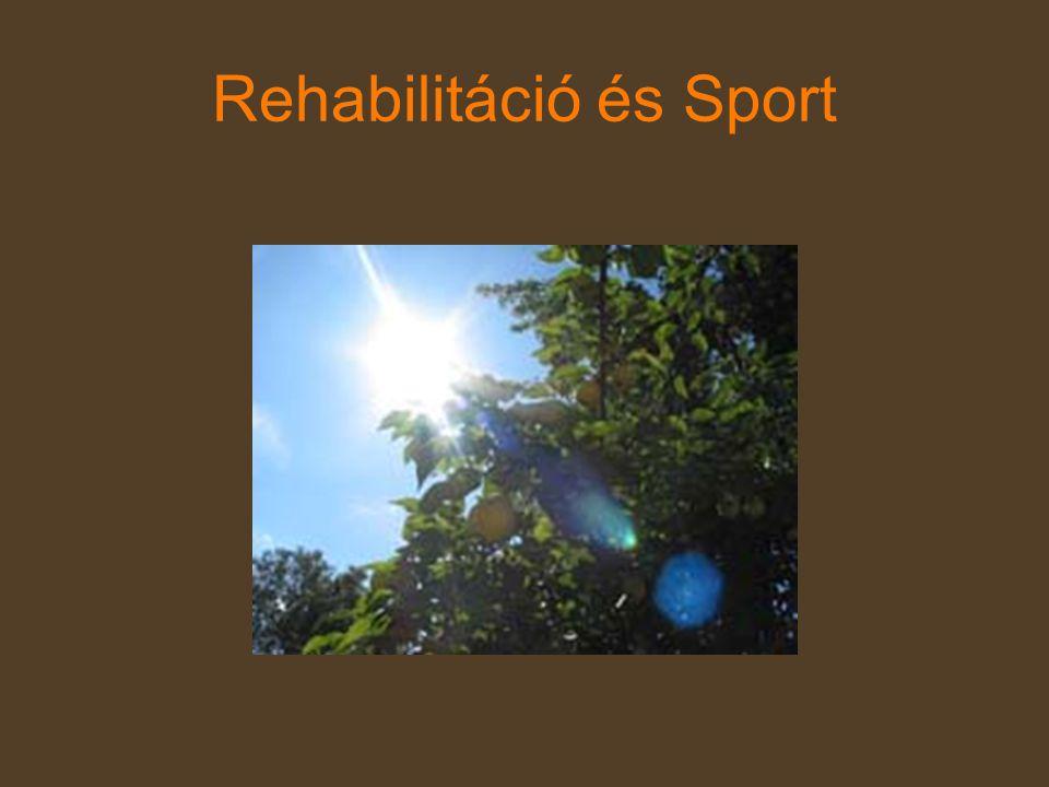 Sportterápia •Fizikai kondíció, •Egyensúlyérzék, •Közlekedőképesség fejlesztése •Segédeszközök használatának elsajátítása -Biztonság -Mobilitás -Segédeszközök gyorsabb beépülése a testsémába -Fizikai erőnlét javulása -Sikerélmény -Motiváció rokkant- sportok