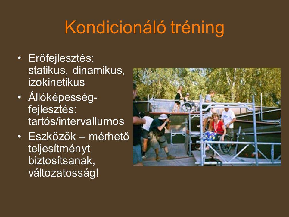 Kondicionáló tréning •Erőfejlesztés: statikus, dinamikus, izokinetikus •Állóképesség- fejlesztés: tartós/intervallumos •Eszközök – mérhető teljesítmén