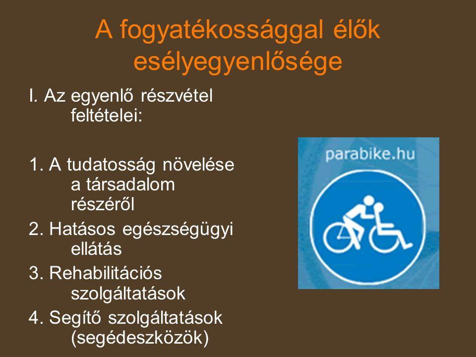 A fogyatékossággal élők esélyegyenlősége I. Az egyenlő részvétel feltételei: 1. A tudatosság növelése a társadalom részéről 2. Hatásos egészségügyi el