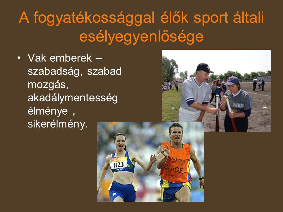 A fogyatékossággal élők sport általi esélyegyenlősége •Vak emberek – szabadság, szabad mozgás, akadálymentesség élménye, sikerélmény.
