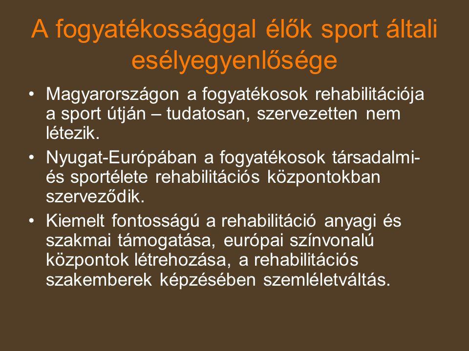 A fogyatékossággal élők sport általi esélyegyenlősége •Magyarországon a fogyatékosok rehabilitációja a sport útján – tudatosan, szervezetten nem létez