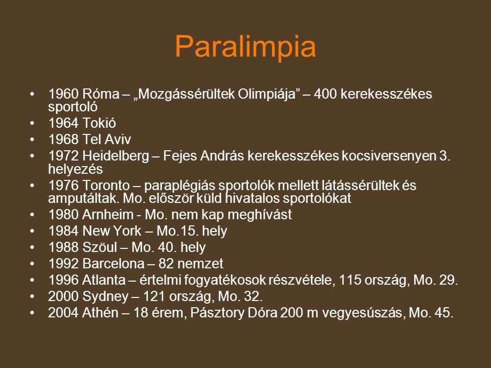 """Paralimpia •1960 Róma – """"Mozgássérültek Olimpiája"""" – 400 kerekesszékes sportoló •1964 Tokió •1968 Tel Aviv •1972 Heidelberg – Fejes András kerekesszék"""