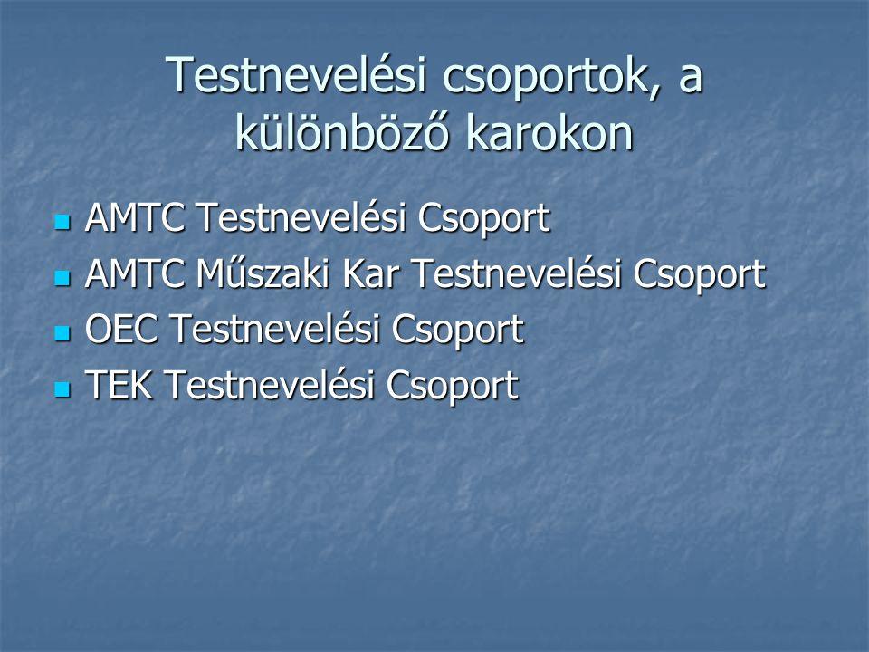 Testnevelési csoportok, a különböző karokon  AMTC Testnevelési Csoport  AMTC Műszaki Kar Testnevelési Csoport  OEC Testnevelési Csoport  TEK Testn
