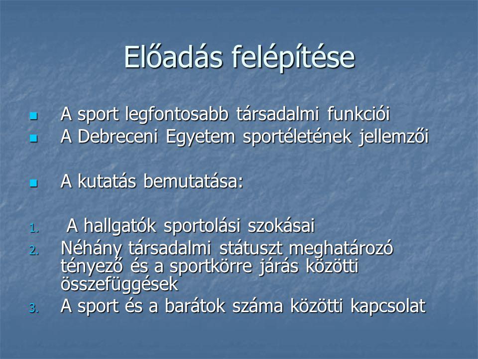 Előadás felépítése  A sport legfontosabb társadalmi funkciói  A Debreceni Egyetem sportéletének jellemzői  A kutatás bemutatása: 1. A hallgatók spo