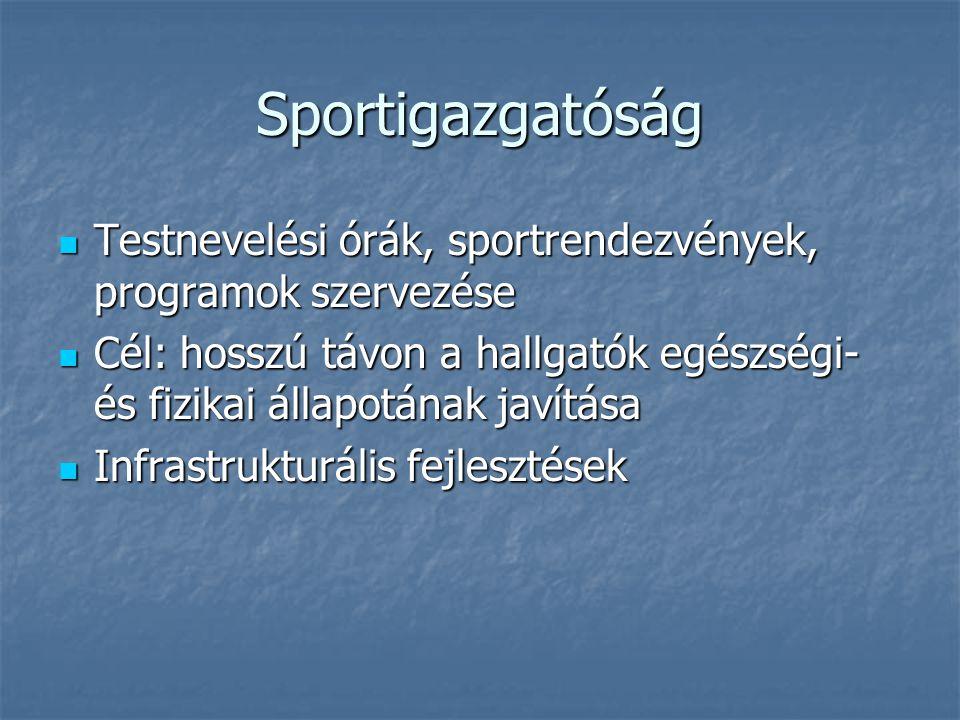 Sportigazgatóság  Testnevelési órák, sportrendezvények, programok szervezése  Cél: hosszú távon a hallgatók egészségi- és fizikai állapotának javítá