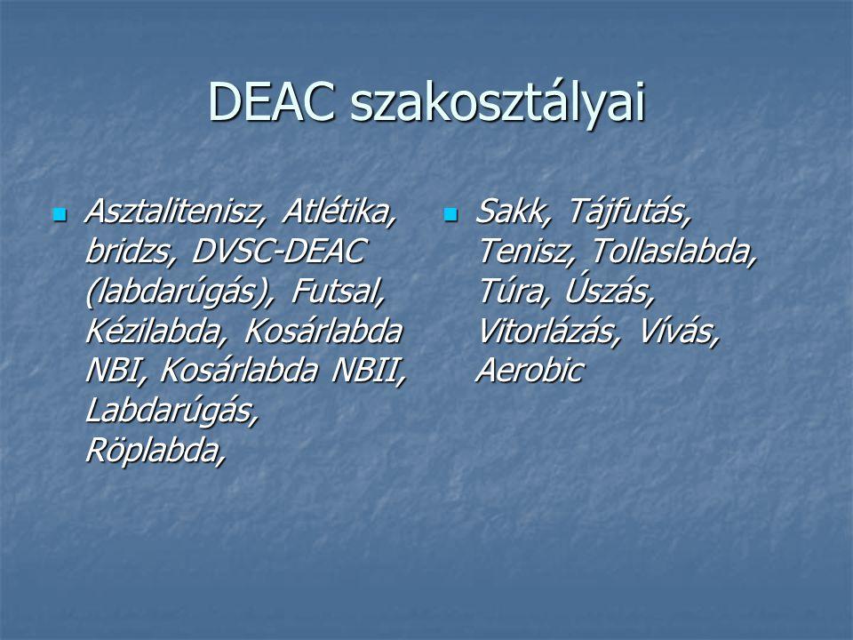 DEAC szakosztályai  Asztalitenisz, Atlétika, bridzs, DVSC-DEAC (labdarúgás), Futsal, Kézilabda, Kosárlabda NBI, Kosárlabda NBII, Labdarúgás, Röplabda