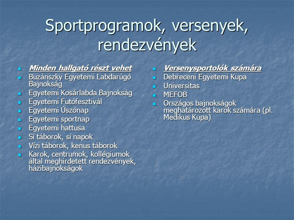 Sportprogramok, versenyek, rendezvények  Minden hallgató részt vehet  Buzánszky Egyetemi Labdarúgó Bajnokság  Egyetemi Kosárlabda Bajnokság  Egyet