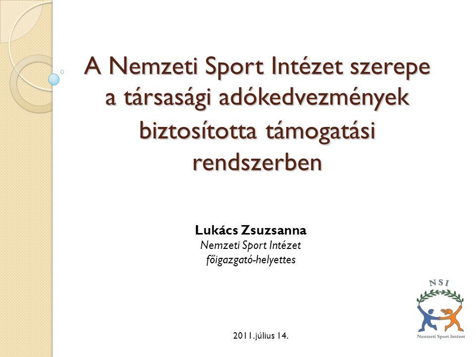 A Nemzeti Sport Intézet szerepe a társasági adókedvezmények biztosítottatámogatási rendszerben A Nemzeti Sport Intézet szerepe a társasági adókedvezmé