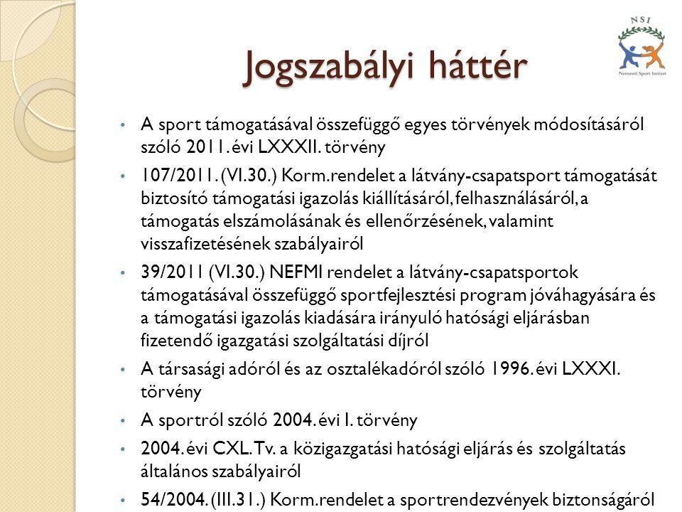 Jogszabályi háttér • A sport támogatásával összefüggő egyes törvények módosításáról szóló 2011. évi LXXXII. törvény • 107/2011. (VI.30.) Korm.rendelet