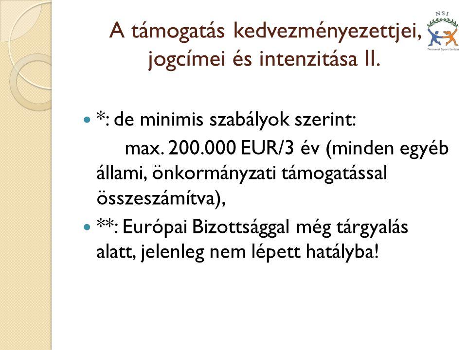A támogatás kedvezményezettjei, jogcímei és intenzitása II.  *: de minimis szabályok szerint: max. 200.000 EUR/3 év (minden egyéb állami, önkormányza