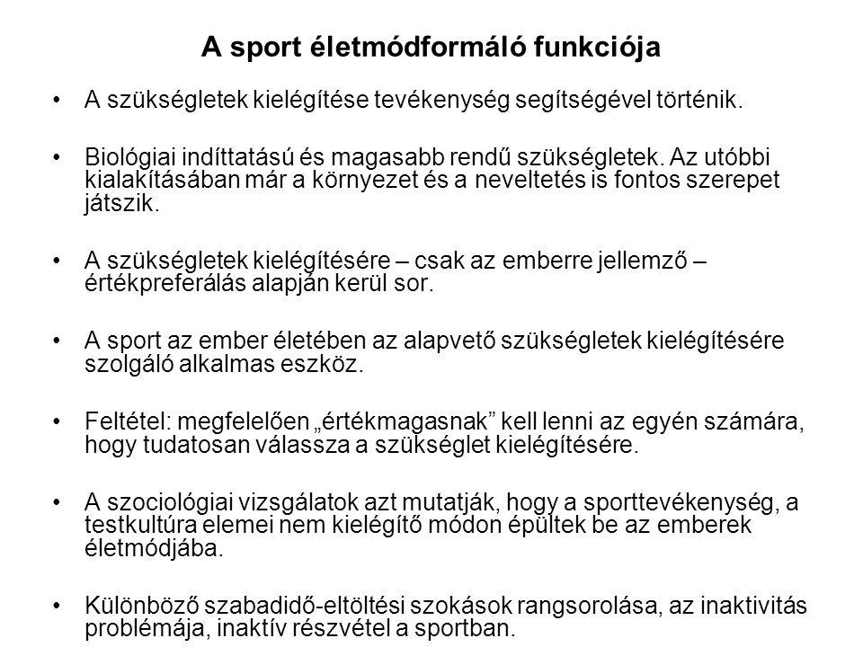 A sport életmódformáló funkciója •A szükségletek kielégítése tevékenység segítségével történik. •Biológiai indíttatású és magasabb rendű szükségletek.