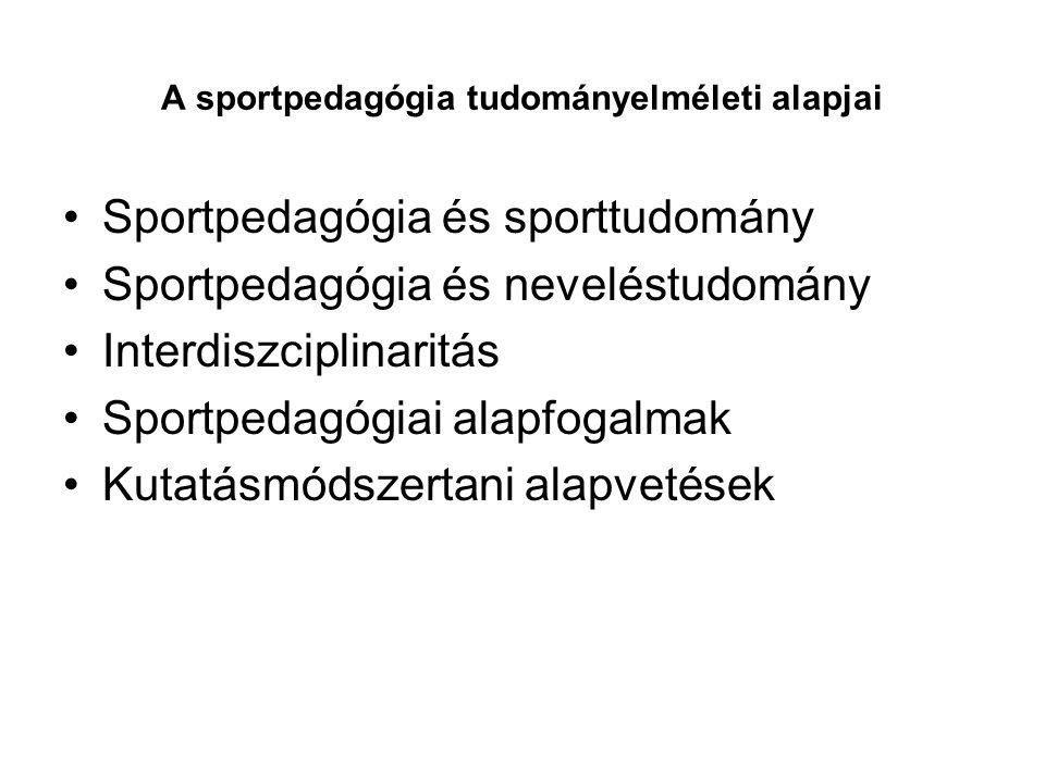 A sportpedagógia tudományelméleti alapjai •Sportpedagógia és sporttudomány •Sportpedagógia és neveléstudomány •Interdiszciplinaritás •Sportpedagógiai