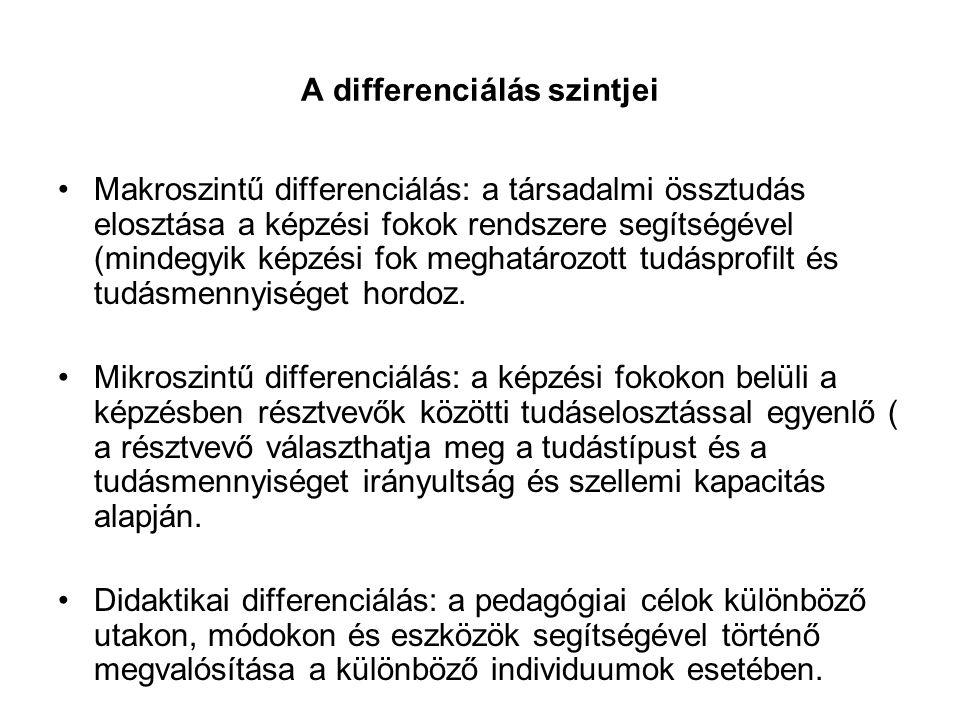 A differenciálás szintjei •Makroszintű differenciálás: a társadalmi össztudás elosztása a képzési fokok rendszere segítségével (mindegyik képzési fok