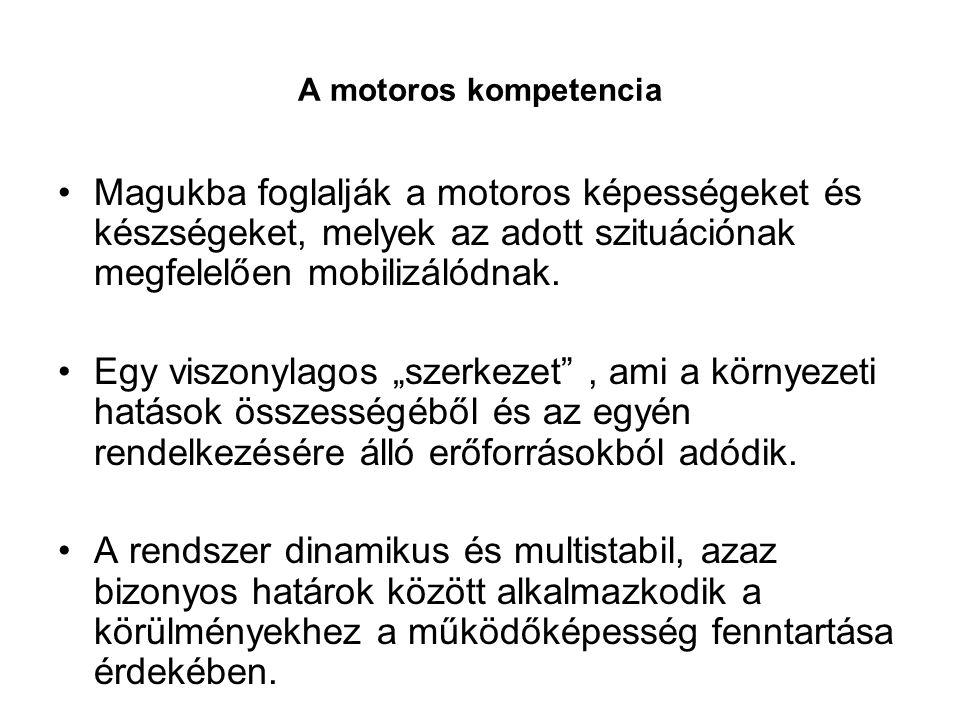 A motoros kompetencia •Magukba foglalják a motoros képességeket és készségeket, melyek az adott szituációnak megfelelően mobilizálódnak. •Egy viszonyl
