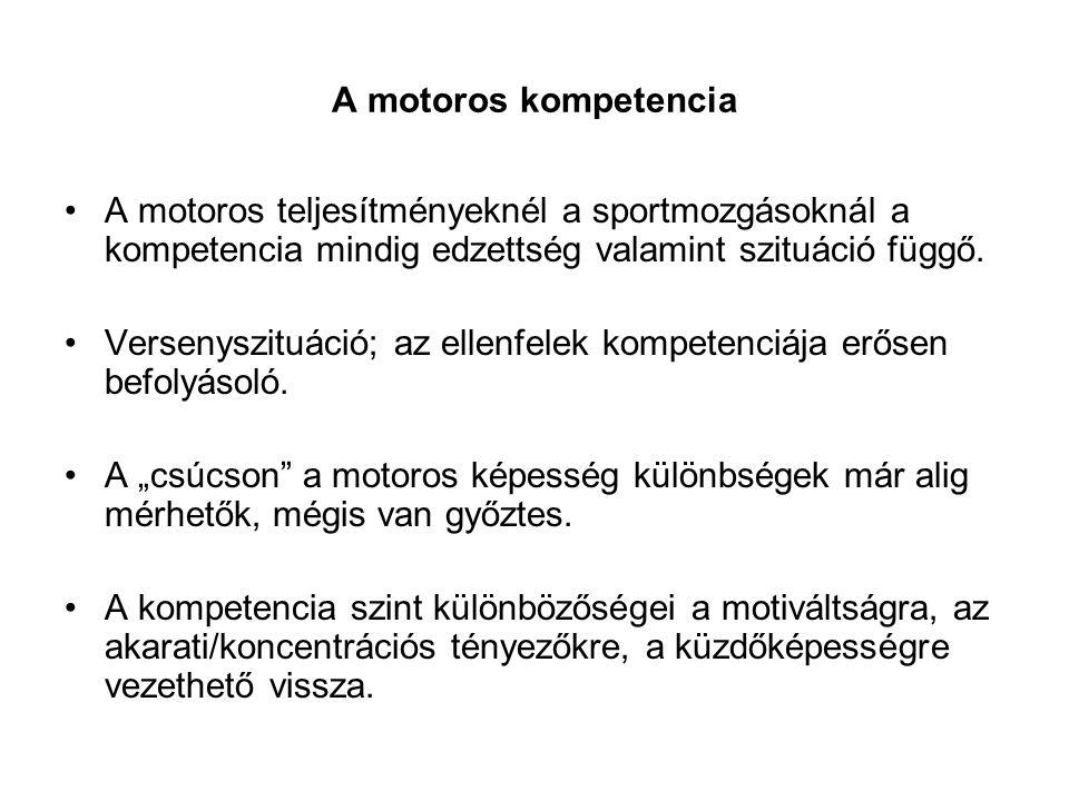 A motoros kompetencia •A motoros teljesítményeknél a sportmozgásoknál a kompetencia mindig edzettség valamint szituáció függő. •Versenyszituáció; az e