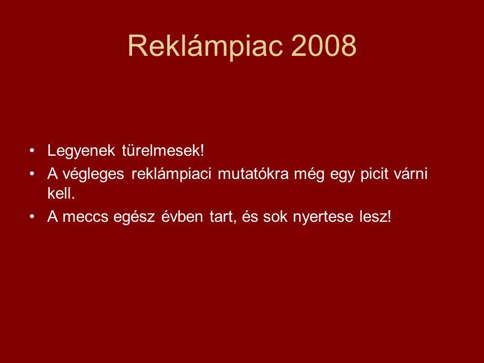 Reklámpiac 2008 •Legyenek türelmesek. •A végleges reklámpiaci mutatókra még egy picit várni kell.
