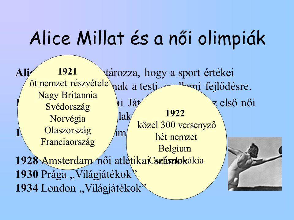 Alice Millat és a női olimpiák Alice Millat meghatározza, hogy a sport értékei milyen hatással bírnak a testi, szellemi fejlődésre. 1921 Első Női Olim