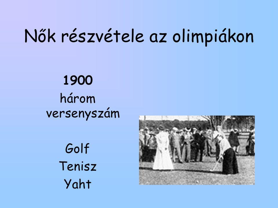 Nők részvétele az olimpiákon 1900 három versenyszám Golf Tenisz Yaht