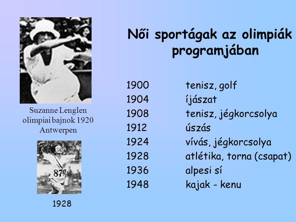 Suzanne Lenglen olimpiai bajnok 1920 Antwerpen Női sportágak az olimpiák programjában 1900tenisz, golf 1904íjászat 1908tenisz, jégkorcsolya 1912úszás 1924vívás, jégkorcsolya 1928atlétika, torna (csapat) 1936alpesi sí 1948kajak - kenu 1928