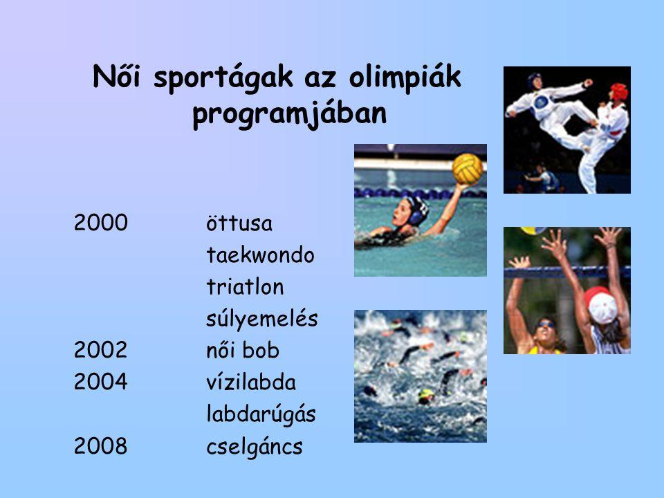 Női sportágak az olimpiák programjában 2000 öttusa taekwondo triatlon súlyemelés 2002női bob 2004vízilabda labdarúgás 2008cselgáncs