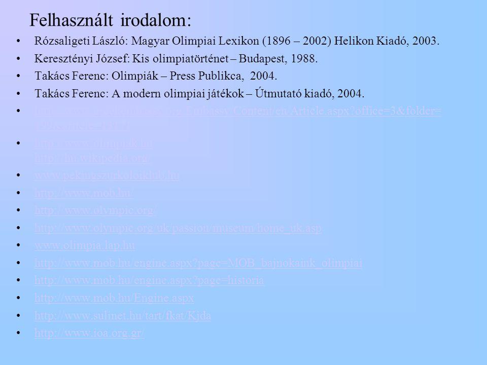 Felhasznált irodalom: •Rózsaligeti László: Magyar Olimpiai Lexikon (1896 – 2002) Helikon Kiadó, 2003. •Keresztényi József: Kis olimpiatörténet – Budap